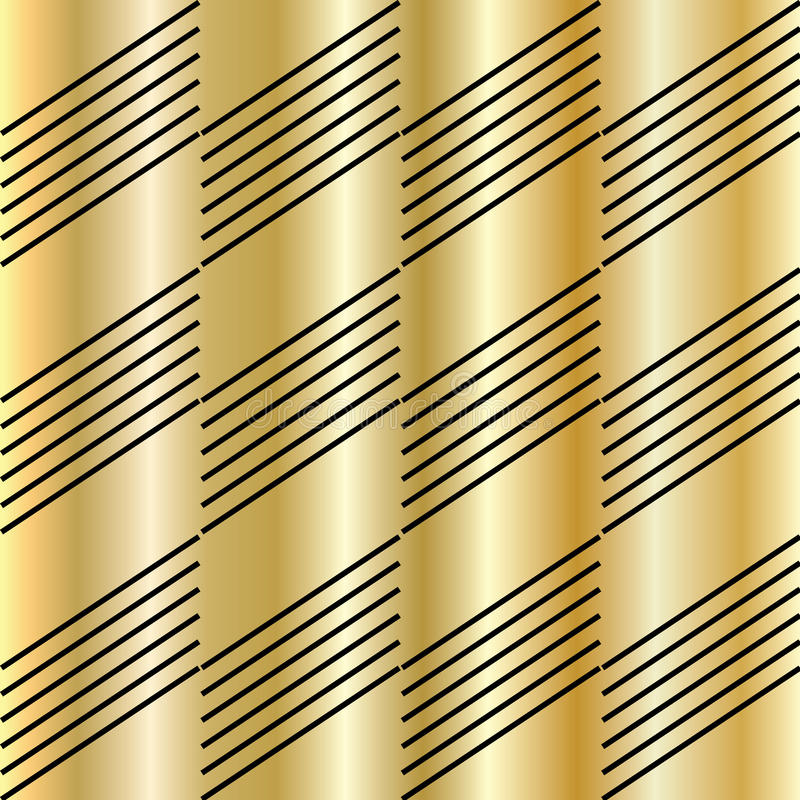 Gold pattern. Gold texture pattern. Vector file with layers. Gold and black diagonal lines. For art, print, web, holiday background, fabric texture design stock illustration
