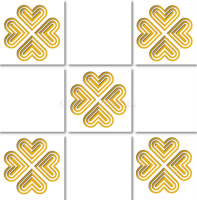 Gold pattern tile. A square pattern of layered papercut style gold and white hearts on white background royalty free illustration