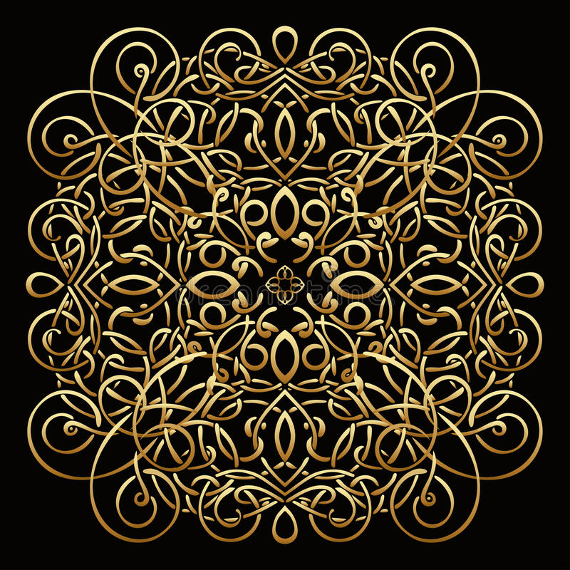 Gold pattern, vector wicker ornament, precious decorative element. For luxury design, decorating antique element. Brooch stock illustration