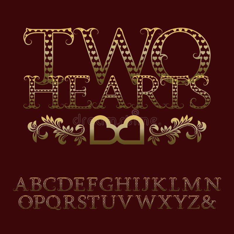 Gold patterned letters with tendrils. Vintage romantic font vector illustration
