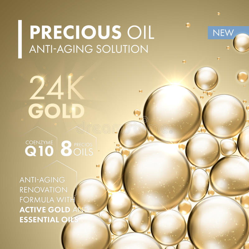 Gold pearl face mask anti-aging treatment solution. Golden pearl face mask anti-aging treatment solution. 24 Karat Gold oil bubbles on precious beige background royalty free illustration