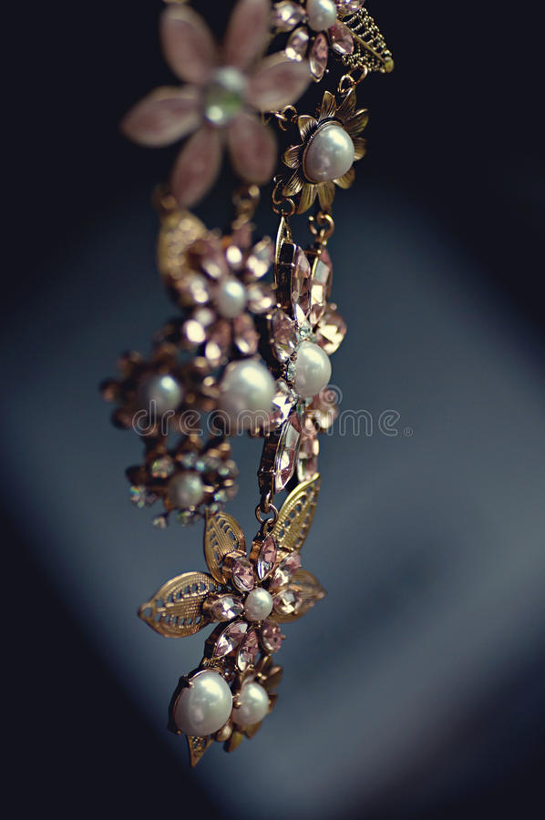 Gold Pearl And Rose Gold Flower Necklace Free Public Domain Cc0 Image