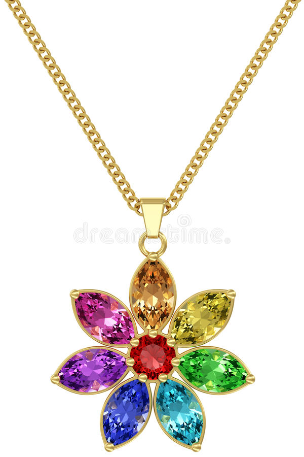 Gold pendant with colorful gemstones on chain isolated on white background royalty free stock photography
