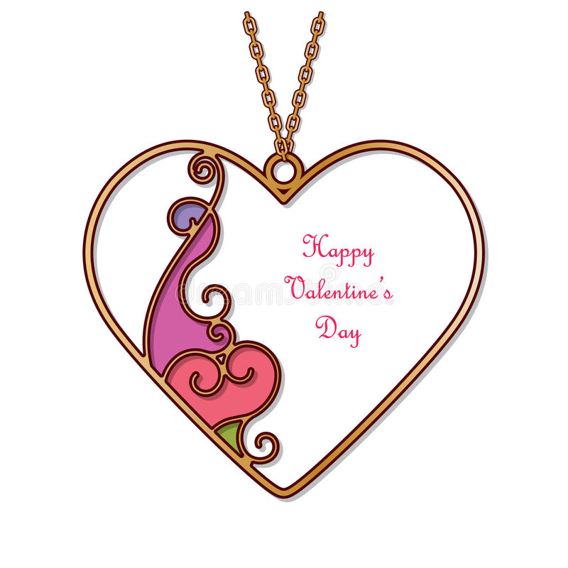 gold pendant in the shape of heart with abstract enamel decor