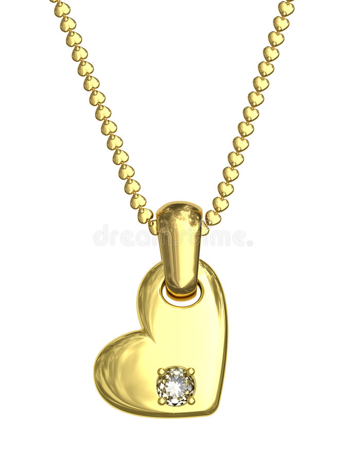 Gold pendant in shape of heart with diamond royalty free stock images