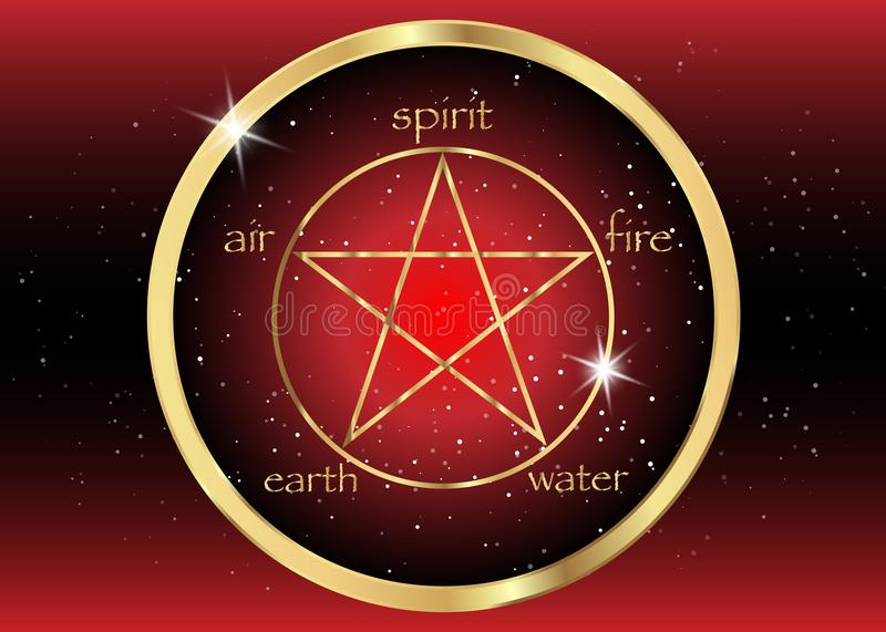 Gold Pentagram icon with five elements : Spirit , Air , Earth , Fire and Water. Golden Symbol of alchemy and sacred geometry. Vector Emblem in red galaxy vector illustration