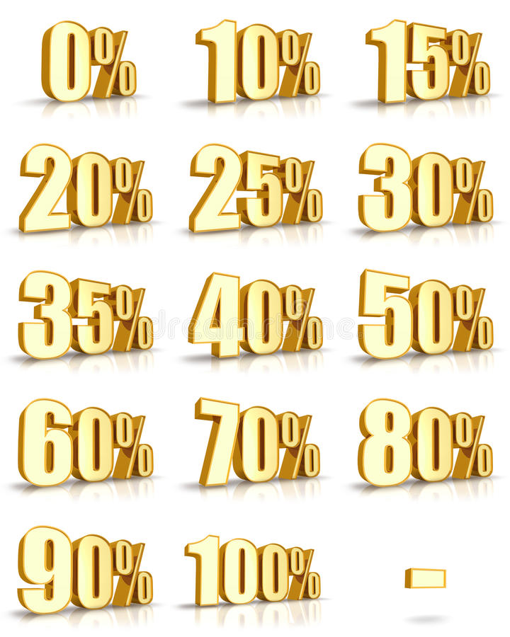Gold Percent Tags Stock Images