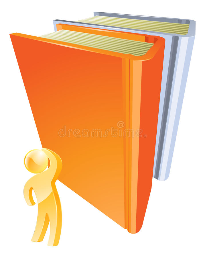 Gold person looking up at book stock illustration