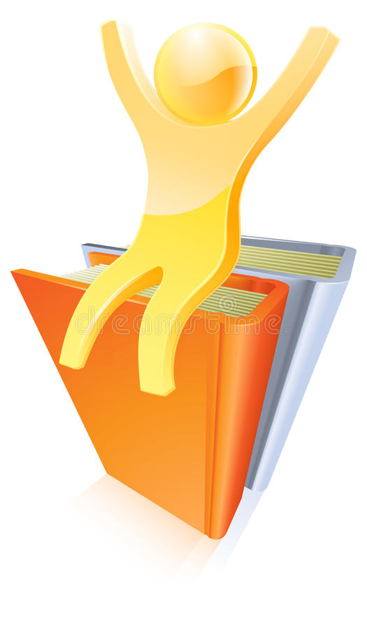 Gold person on top of books stock illustration