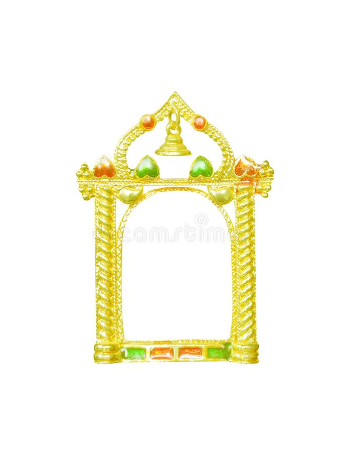 Gold picture frame with bell and decoration heart shape patterns isolated on white background,modern style stock images