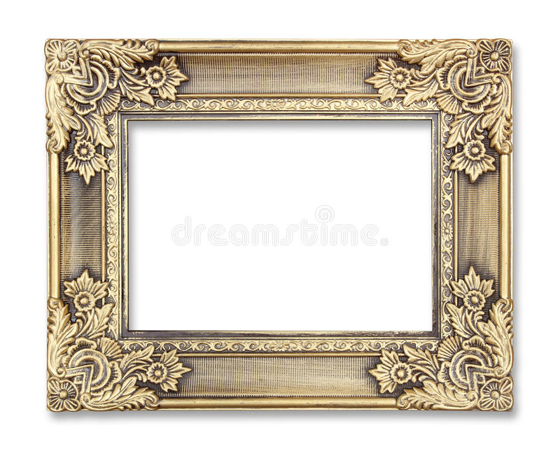 Gold picture frame with a decorative pattern on white background.  royalty free stock image