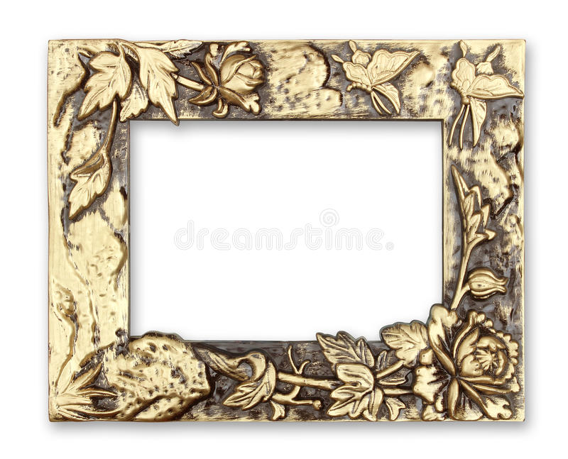 Gold picture frame with a decorative pattern on white background.  royalty free stock photo