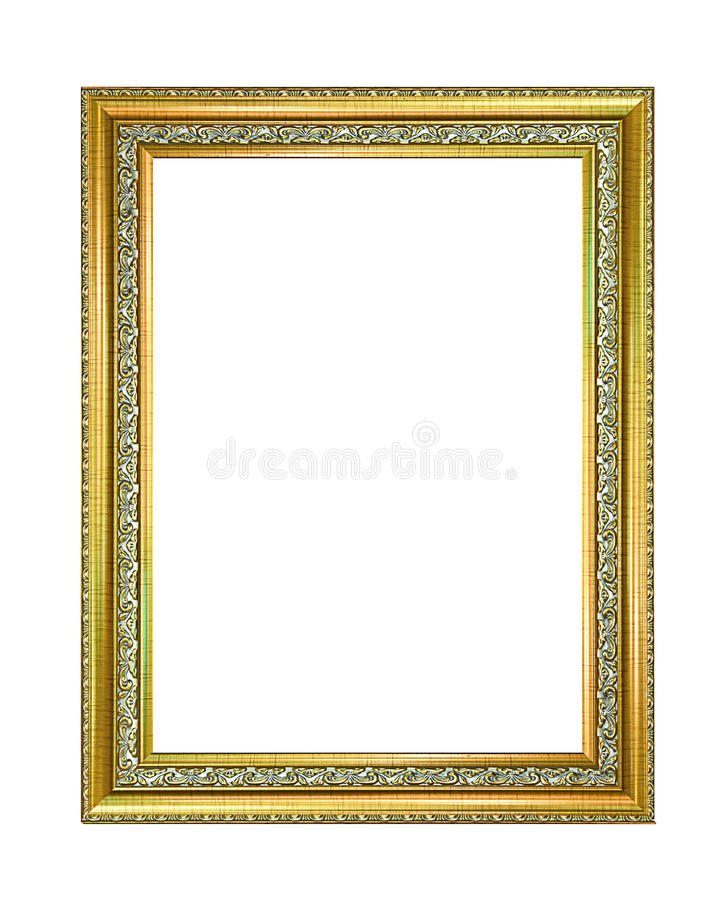 Gold picture frame Isolated on white background stock photos