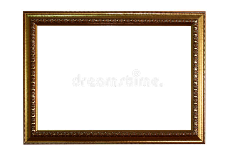 Gold picture frame isolated on a white background. stock image