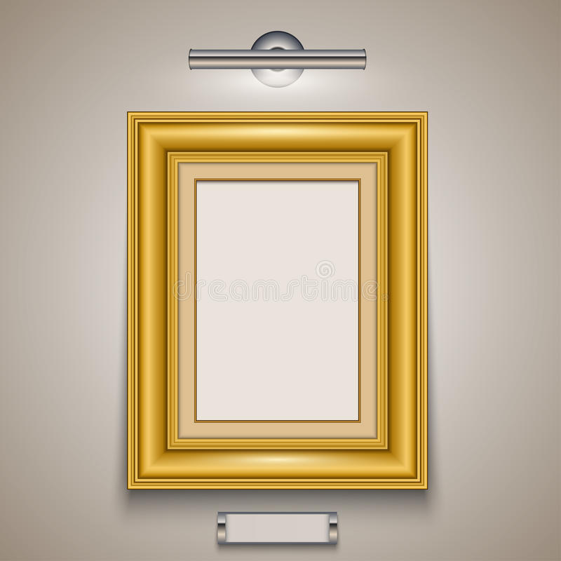 Gold picture frame royalty free illustration