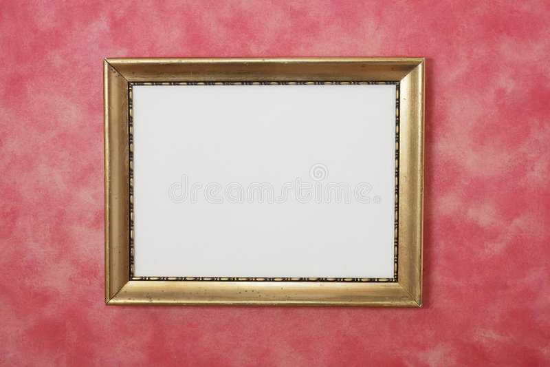 Download Gold Picture Frame on Wall stock image. Image of pink - 4183121