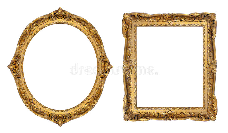Gold picture frames stock image