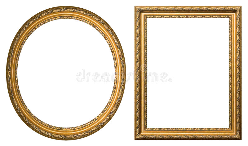 Gold picture frames stock photography