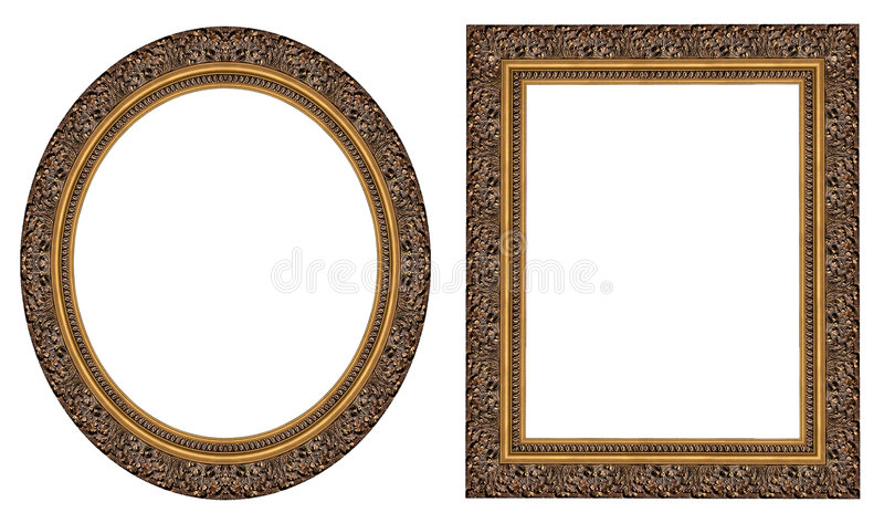 Gold picture frames stock photo
