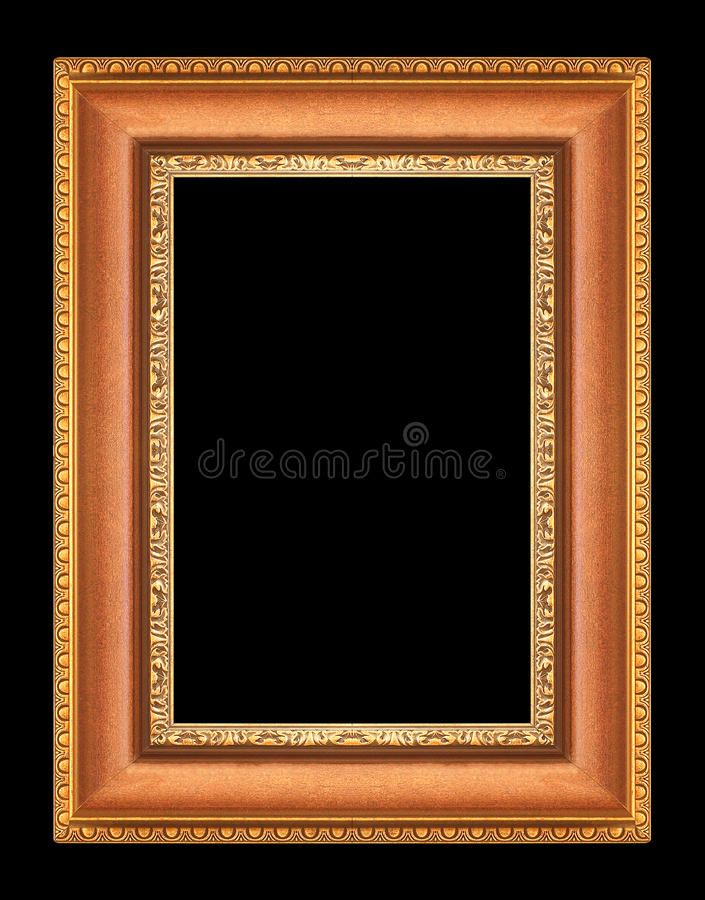 Gold picture frames on black. Gold picture frames. Isolated on black background stock image