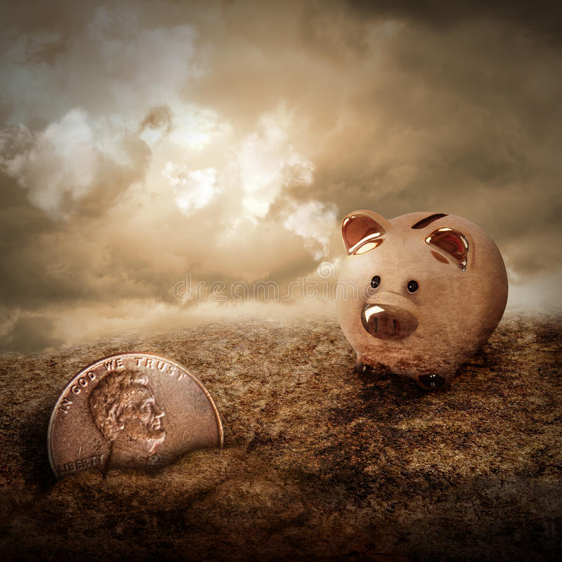 Lucky Piggy Bank Finds Lost Penny in Dirt. A gold piggy bank is looking at a lost penny coin hiding in the dirt with clouds in the sky. Use it as a metaphor for stock photography