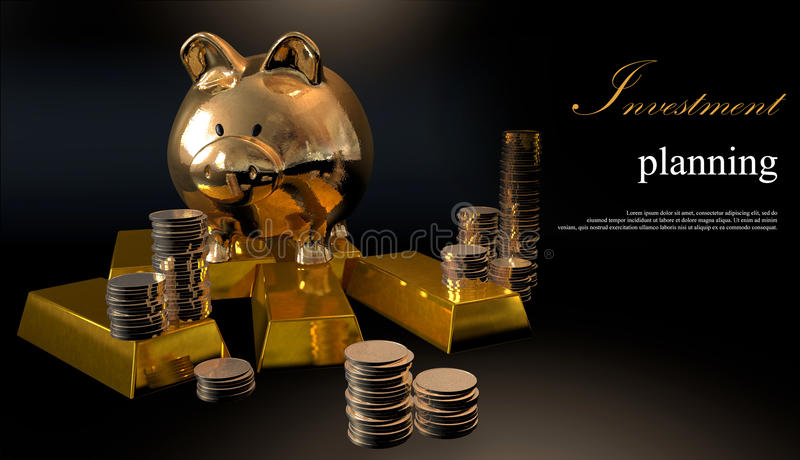 Gold piggy bank and stacked coins royalty free illustration