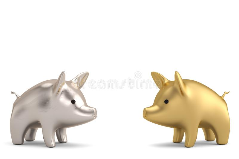 Gold piggy and silver piggy on white background 3D illustration. Gold piggy and silver piggy on white background 3D illustration stock illustration