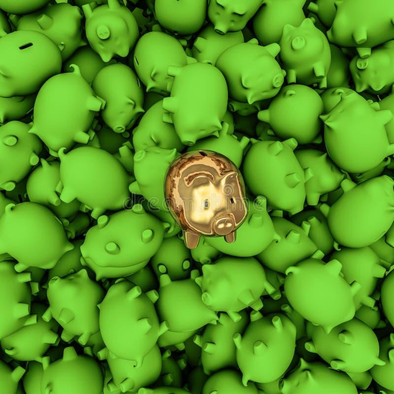 Gold piggybank among green ones