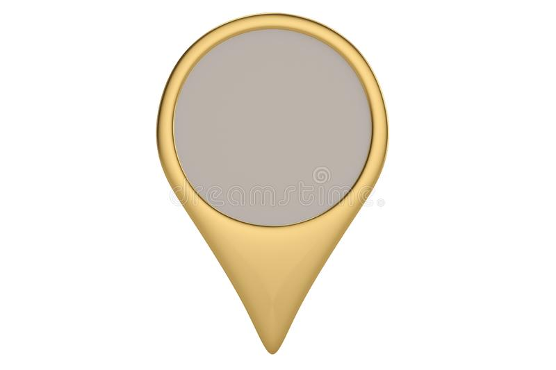 Gold pin icon on white backgroun.3D illustration. Gold pin icon on white backgroun. 3D illustration stock illustration