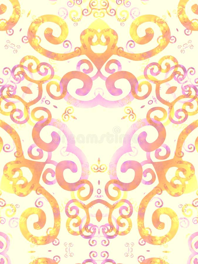 Gold Pink Artsy Swirls Pattern royalty free stock photography