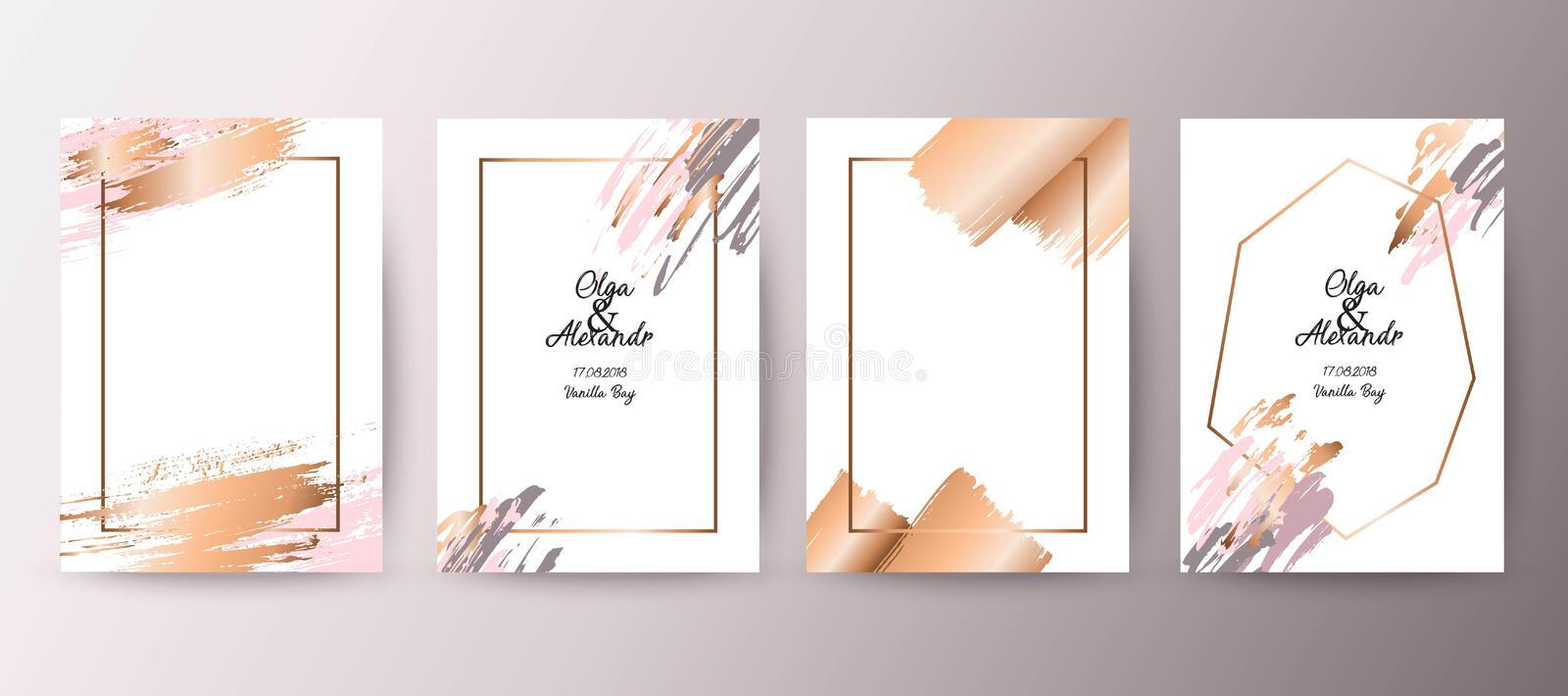 Gold, pink brochure, flyer, invitation, card royalty free illustration