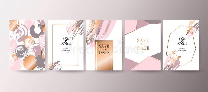 Gold, pink brochure, flyer, invitation, card royalty free illustration