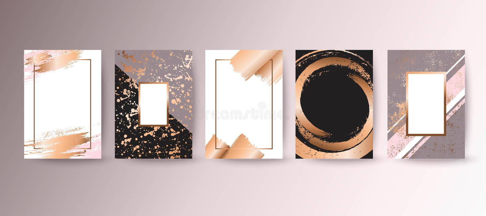 Gold, pink brochure, flyer, invitation, card vector illustration