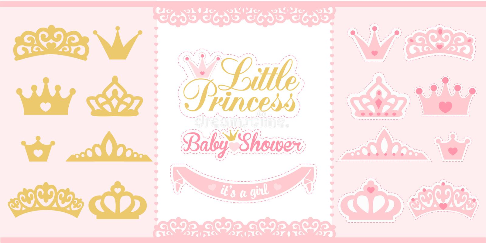 Gold and pink crowns set. Little princess design elements. Template silhouettes of crowns for laser cutting. Birthday party and girl baby shower decor royalty free illustration