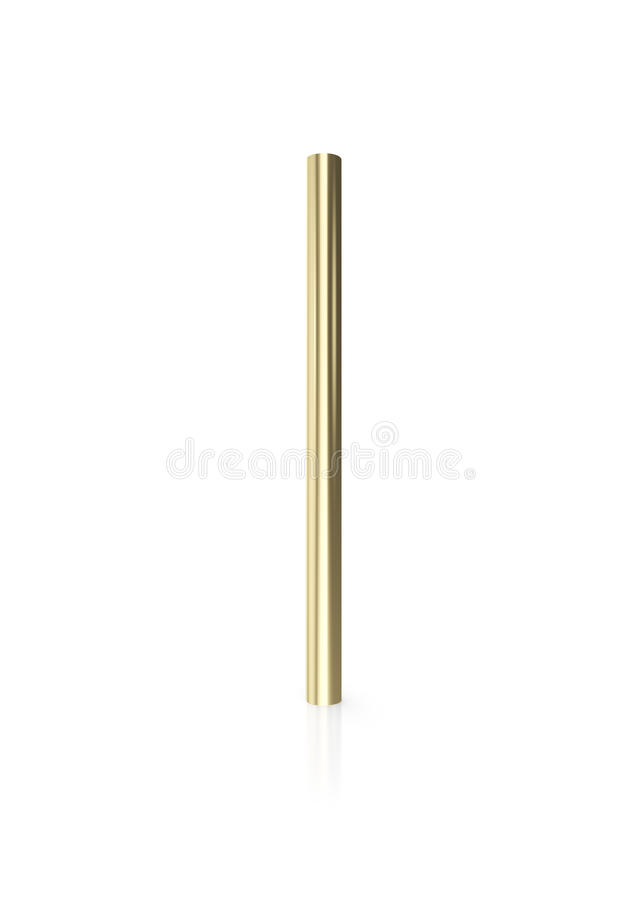 Gold pipes on white background with reflect floor. 3d illustration royalty free illustration