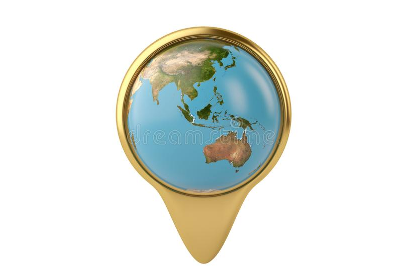 Gold place marker and globe 3D illustration stock illustration