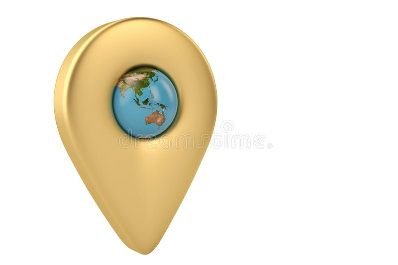 Gold place marker and globe 3D illustration royalty free illustration
