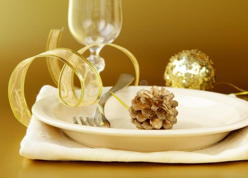 Download Gold Place Setting For Chris Royalty Free Stock Image - Image: 22066456