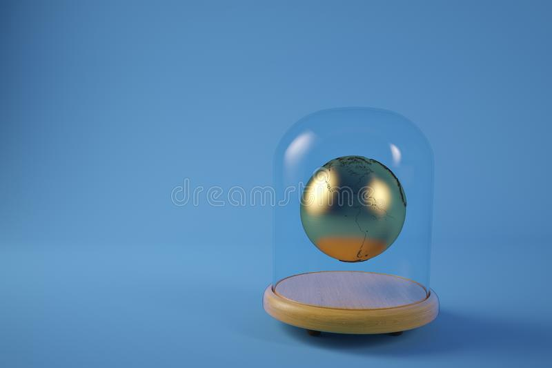 Gold planet in glass bell with wooden base isolated on blue back. Ground.3D illustration royalty free illustration