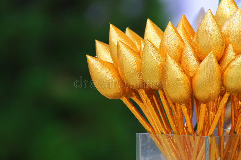 Gold plastic lotus stock image