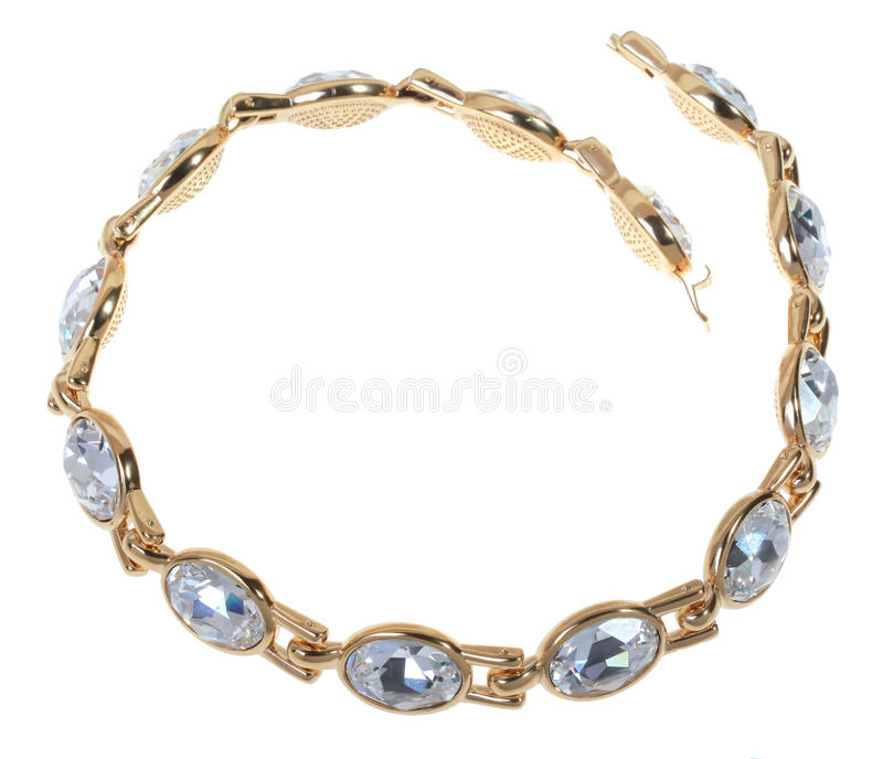 Gold plated bracelet. With large zircons stock image