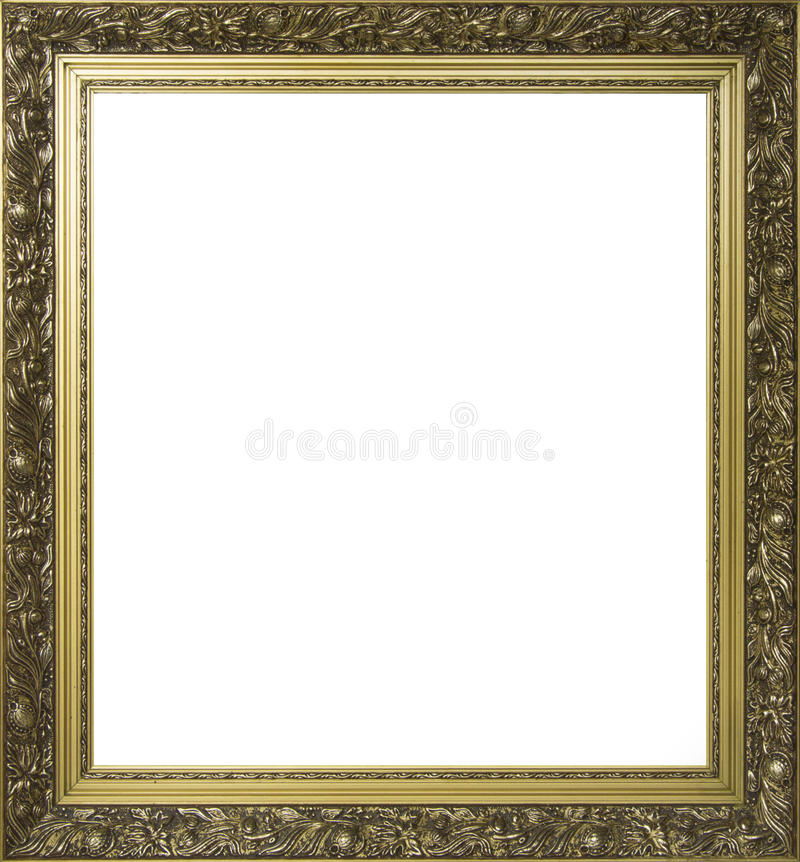 Gold plated ornamental frame for painting stock image