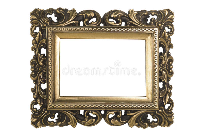 Gold Plated Picture Frame. Baroque picture frame to put your own pictures in. File contains clipping path stock photography