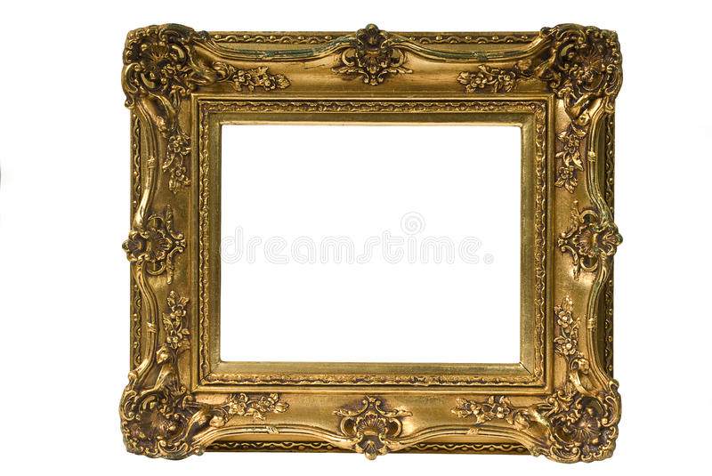 Gold Plated Picture Frame. Baroque picture frame to put your own pictures in. File contains clipping path stock photos