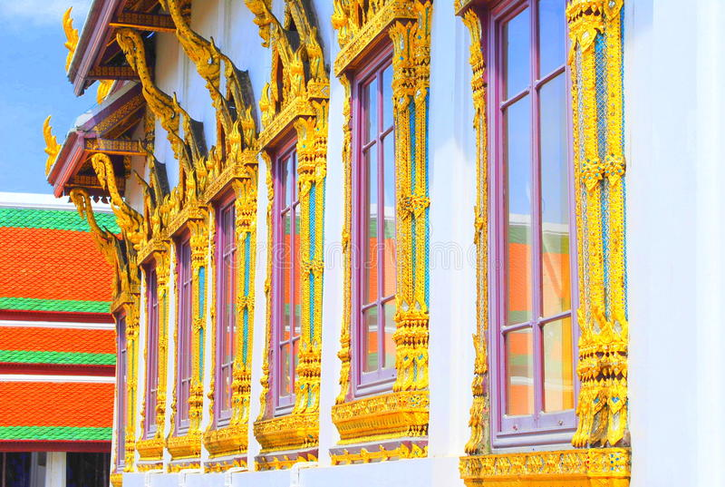 Gold plated Windows Thailand stock image