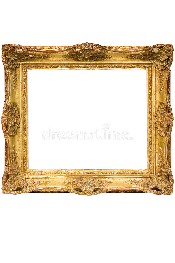 Download Gold Plated Wooden Picture Frame W/ Path (Cubic) Stock Photo - Image of grunge, decoration: 592488
