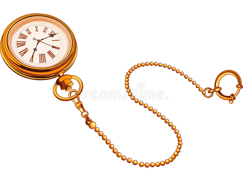Download Gold Pocket watch stock vector. Image of wonderland, minute - 29211013