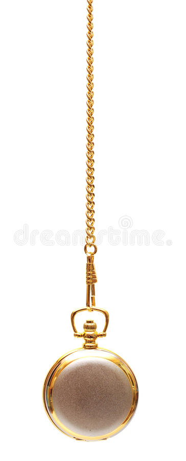 Gold pocket watch and chain royalty free stock photo
