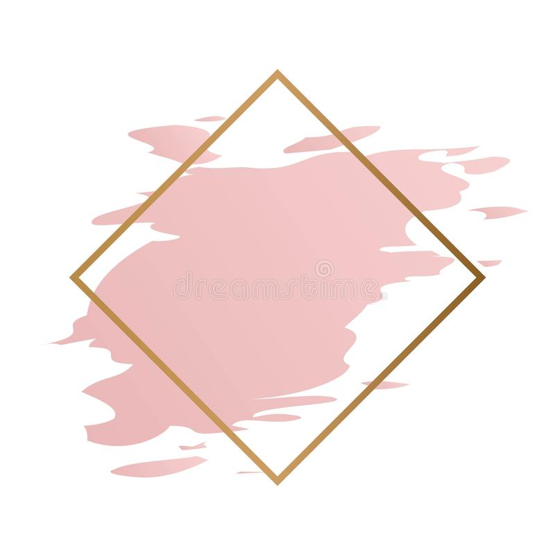 Free Gold Polygonal Frame With Golden Glitter Circle, Square, Romb, Hexagon And Pastel Rose Colors Brush Strockes Royalty Free Stock Photos - 160748128
