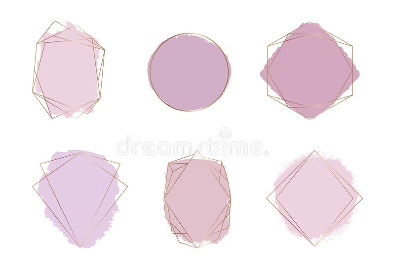 Gold polygonal frames with pink and nude colors brush stroke watercolor texture. Geometric shape with watercolor washes. Trendy te vector illustration